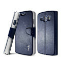 IMAK Flip leather Case support book Holster Cover for Samsung i829 Galaxy Style Duos - Dark Blue