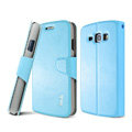 IMAK Flip leather Case support book Holster Cover for Samsung i829 Galaxy Style Duos - Sky Blue