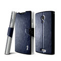 IMAK R64 lines leather Case Support Holster Cover for Lenovo S868t - Dark blue