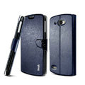 IMAK R64 lines leather Case Support Holster Cover for Lenovo S920 - Dark blue