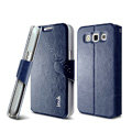 IMAK R64 lines leather Case support Holster Cover for Samsung i8552 Galaxy Win - Dark blue