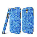 IMAK RON Series leather Case Support Holster Cover for Samsung GALAXY S4 I9500 SIV i9502 i9508 i959 - Blue