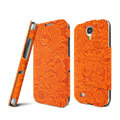 IMAK RON Series leather Case Support Holster Cover for Samsung GALAXY S4 I9500 SIV i9502 i9508 i959 - Orange