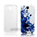 IMAK Relievo Painting Case Butterfly Flower Battery Cover for Samsung GALAXY S4 I9500 SIV - Blue