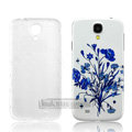 IMAK Relievo Painting Case Flower Battery Cover for Samsung GALAXY S4 I9500 SIV - Blue