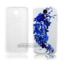 IMAK Relievo Painting Case Flower Battery Cover for Samsung GALAXY S4 SIV I9500 - Blue