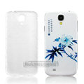 IMAK Relievo Painting Case Peony Flower Battery Cover for Samsung GALAXY S4 I9500 SIV - Blue