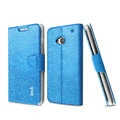 IMAK Slim Flip leather Case support Holster Cover for HTC One M7 801e - Blue