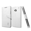 IMAK Slim Flip leather Case support Holster Cover for HTC One M7 801e - White