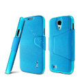 IMAK Squirrel lines leather Case Support Holster Cover for Samsung GALAXY S4 I9500 SIV - Sky blue