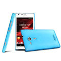 IMAK Water Jade Shell Hard Cases Covers for Sony Ericsson M35h Xperia SP - Blue (High transparent screen protector)
