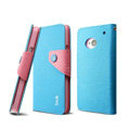 IMAK cross Flip leather case book Holster holder cover for HTC One M7 801e - Blue