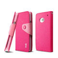 IMAK cross Flip leather case book Holster holder cover for HTC One M7 801e - Rose