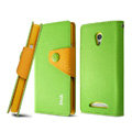 IMAK cross Flip leather case book Holster holder cover for OPPO U705T Ulike2 - Green