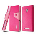IMAK cross Flip leather case book Holster holder cover for OPPO U705T Ulike2 - Rose