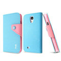 IMAK cross Flip leather case book Holster holder cover for Samsung GALAXY S4 I9500 SIV - Blue