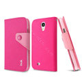 IMAK cross Flip leather case book Holster holder cover for Samsung GALAXY S4 I9500 SIV - Rose