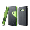 IMAK cross Flip leather case book Holster holder cover for Samsung i829 Galaxy Style Duos - Black
