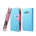 IMAK cross Flip leather case book Holster holder cover for Samsung i829 Galaxy Style Duos - Blue