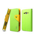 IMAK cross Flip leather case book Holster holder cover for Samsung i829 Galaxy Style Duos - Green