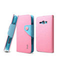 IMAK cross Flip leather case book Holster holder cover for Samsung i829 Galaxy Style Duos - Pink