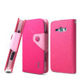 IMAK cross Flip leather case book Holster holder cover for Samsung i829 Galaxy Style Duos - Rose