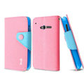 IMAK cross Flip leather case book Holster holder cover for TCL S600 - Pink