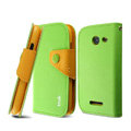 IMAK cross leather case Button holster holder cover for Coolpad 5890 - Green