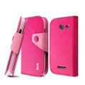 IMAK cross leather case Button holster holder cover for Coolpad 5890 - Rose