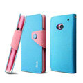 IMAK cross leather case Button holster holder cover for HTC One 802t - Blue