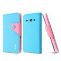 IMAK cross leather case Button holster holder cover for Huawei C8813 - Blue