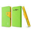 IMAK cross leather case Button holster holder cover for Huawei C8813 - Green