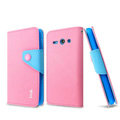 IMAK cross leather case Button holster holder cover for Huawei C8813 - Pink