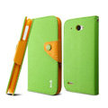 IMAK cross leather case Button holster holder cover for Lenovo S920 - Green