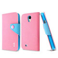 IMAK cross leather case Button holster holder cover for Samsung GALAXY S4 I9500 SIV - Pink