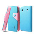IMAK cross leather case Button holster holder cover for Samsung i8258 - Blue