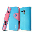 IMAK cross leather case Button holster holder cover for Samsung i8262D GALAXY Dous - Blue