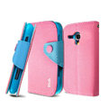 IMAK cross leather case Button holster holder cover for Samsung i8262D GALAXY Dous - Pink