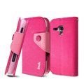 IMAK cross leather case Button holster holder cover for Samsung i8262D GALAXY Dous - Rose