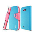 IMAK cross leather case Button holster holder cover for Samsung i879 i9128V - Blue