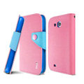IMAK cross leather case Button holster holder cover for Samsung i879 i9128V - Pink