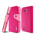 IMAK cross leather case Button holster holder cover for Samsung i879 i9128V - Rose