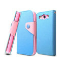 IMAK cross leather case Button holster holder cover for Samsung i939D GALAXY SIII - Blue