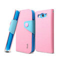 IMAK cross leather case Button holster holder cover for Samsung i939D GALAXY SIII - Pink