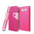 IMAK cross leather case Button holster holder cover for Samsung i939D GALAXY SIII - Rose