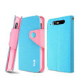 IMAK cross leather case Button holster holder cover for TCL S800 - Blue