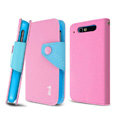 IMAK cross leather case Button holster holder cover for TCL S800 - Pink