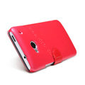 Nillkin Fresh leather Case Bracket Holster Cover Skin for HTC One 802t - Red