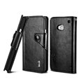 IMAK R64 book leather Case support flip Holster Cover for HTC One 802t - Black
