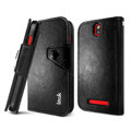 IMAK R64 book leather Case support flip Holster Cover for HTC T528t One ST - Black